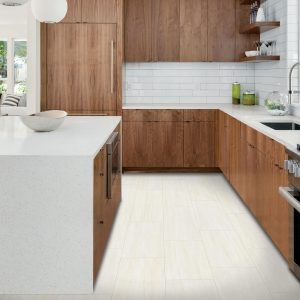 Kitchen white tiles and wood cabinets | Tom January Floors